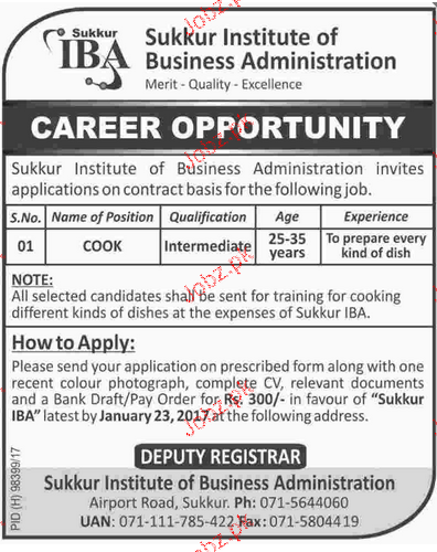 Cooks Job in Sukkur Institute of Business Administration
