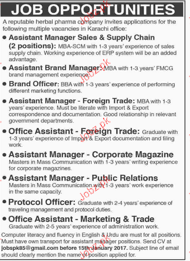 Assistant Manager Sales, Brand Officers Job Opportunity