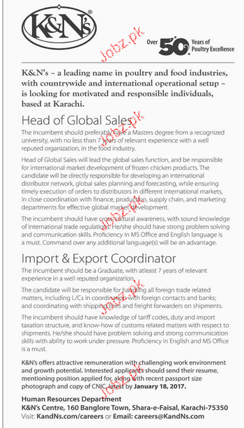 Head of Global Sales and Export Coordinators Wanted