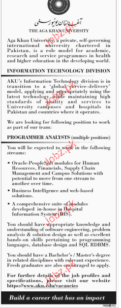 Programmer Analysts Job in The Aga Khan University
