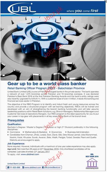 Retail Banking Officers Program Job in UBL