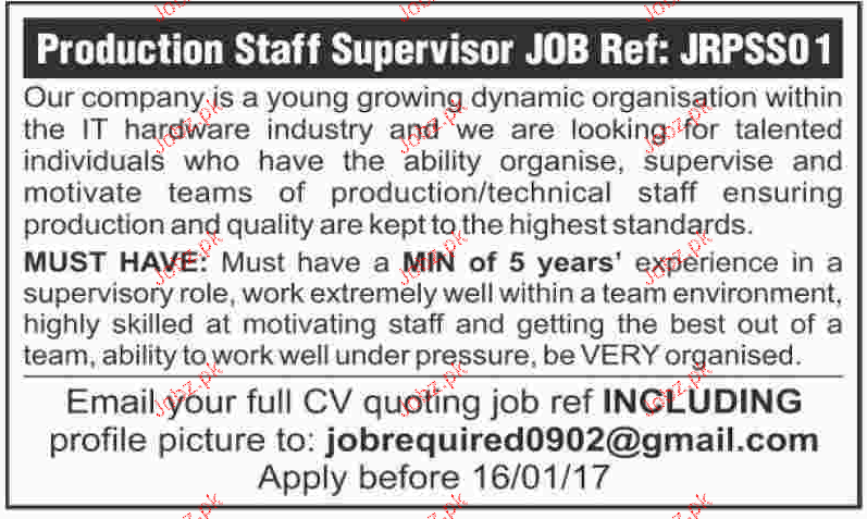Production Staff Supervisors Job Opportunity