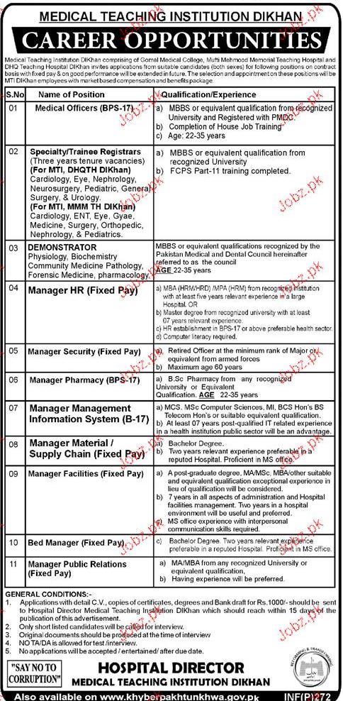 Medical Officers, Demonstrators, HR Manager Job Opportunity