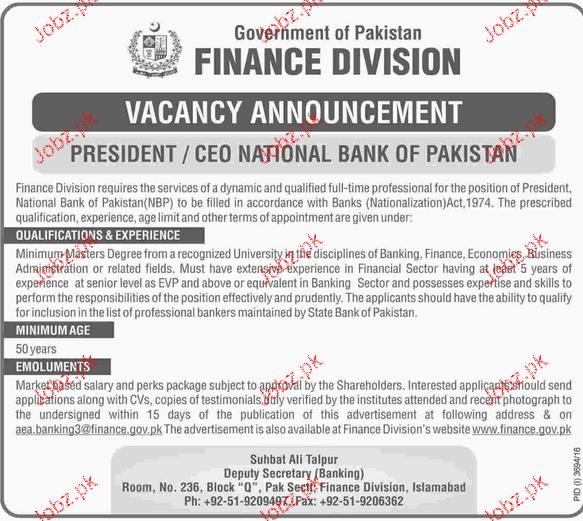 President ceo national bank of pakistan job opportunity - National bank of pakistan head office ...