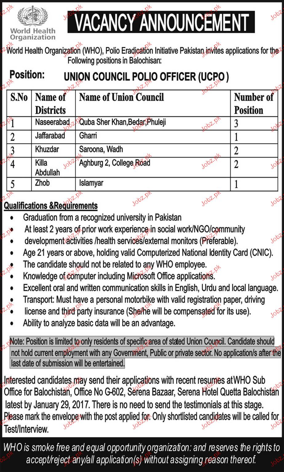 Union Council Polio Officers Job in WHO 2019 Job Advertisement Pakistan