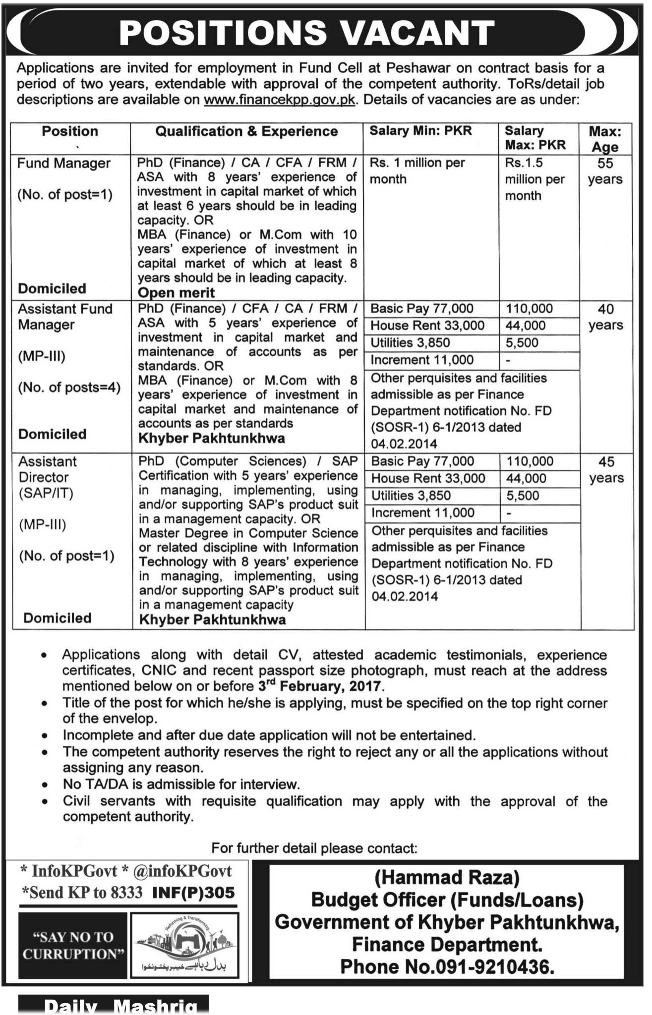 Fund Manager, Assistant Fund Manager U0026 Assistant Director