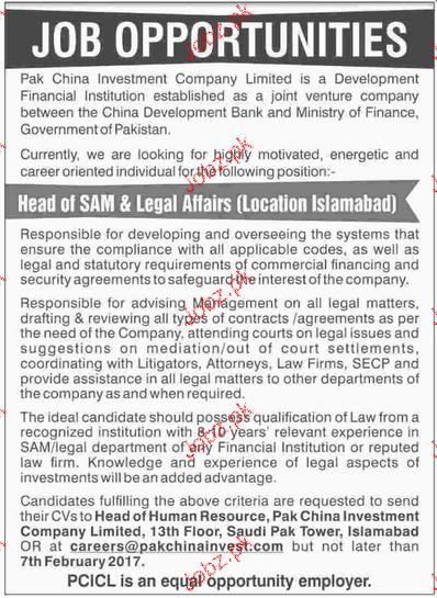 Head of SAM & Legal Affairs Job Opportunity