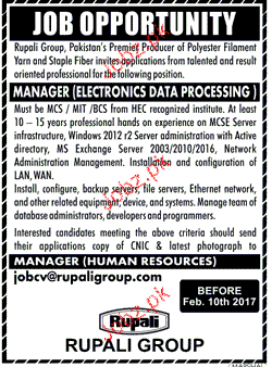 Manager Electronics Data Processing Job Opportunity