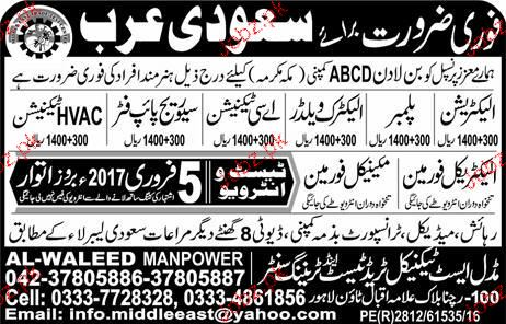 Electricians, Plumbers, Electric Welders Job Opportunity