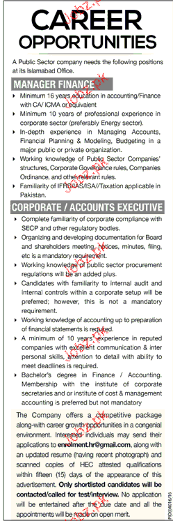 Manager Finance and Accounts Executive Job Opportunity