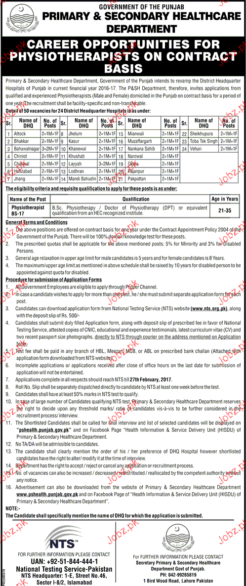 Physiotherapists Job in Health Department