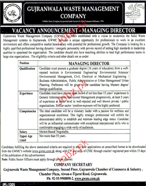 Managing Director Job in Gujranwala Waste Management