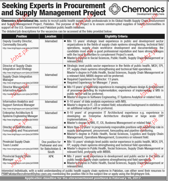 Deputy Country Director, Director Supply Chain Wanted