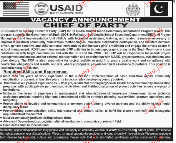 Chief of Party Job in USAID in Pakistan
