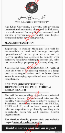 Manager Taxation and Analysts Job Opportunity