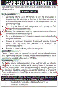 Internal Auditors Job Opportunity