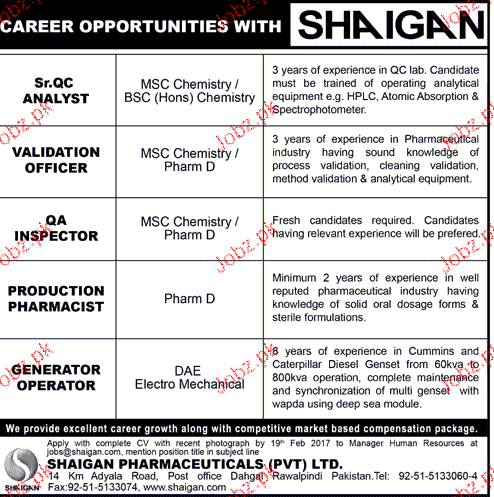 QC Analysts, Validation Officers Job Opportunity