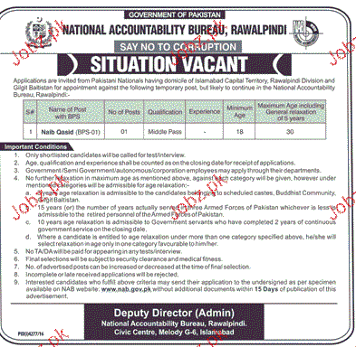 Naib Qasid Job in National Accountability Bureau