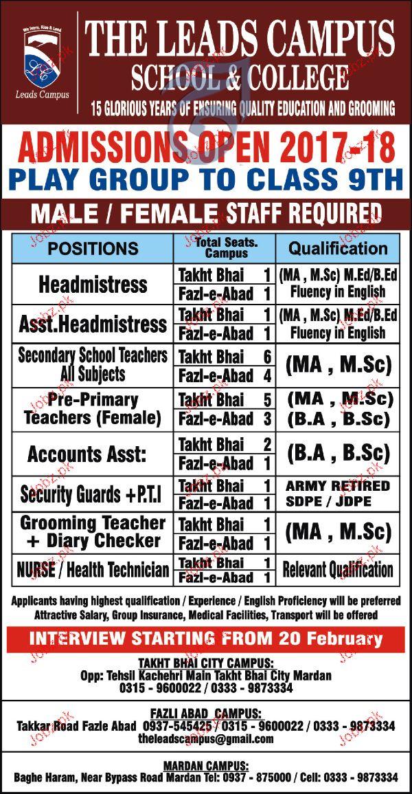 Headmistress, Teachers, Account Assistant Job Opportunity