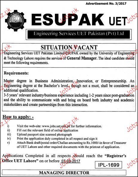 Engineering Management Jobs : General manager job in engineering services uet pakistan