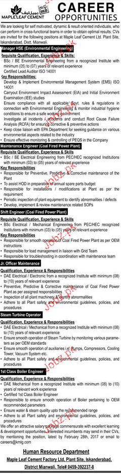 Manager HSE, Maintenance Engineers Job Opportunity