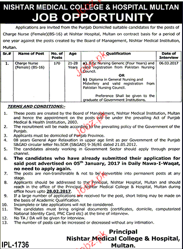 Charge Nurses Job in Nishtar Medical College