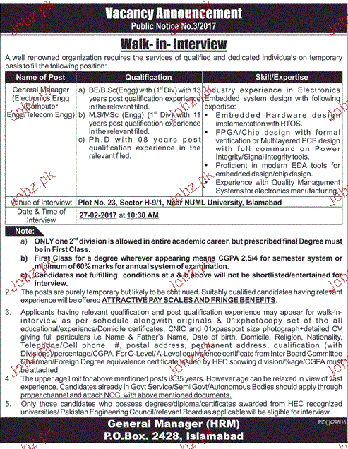 General Manager Electronics Engineering Job Opportunity