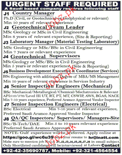 Country Manager, Geotechnical Supervisor Job Opportunity