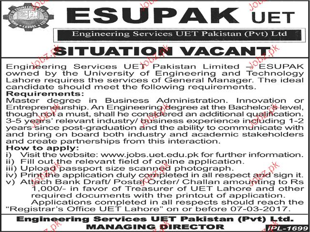 General Manager Job in ESUPAK UET