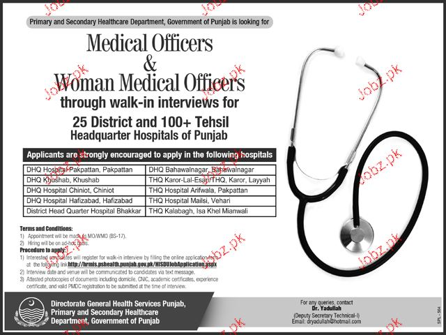 Medical Officers and Women Medical Officers Job Opportunity