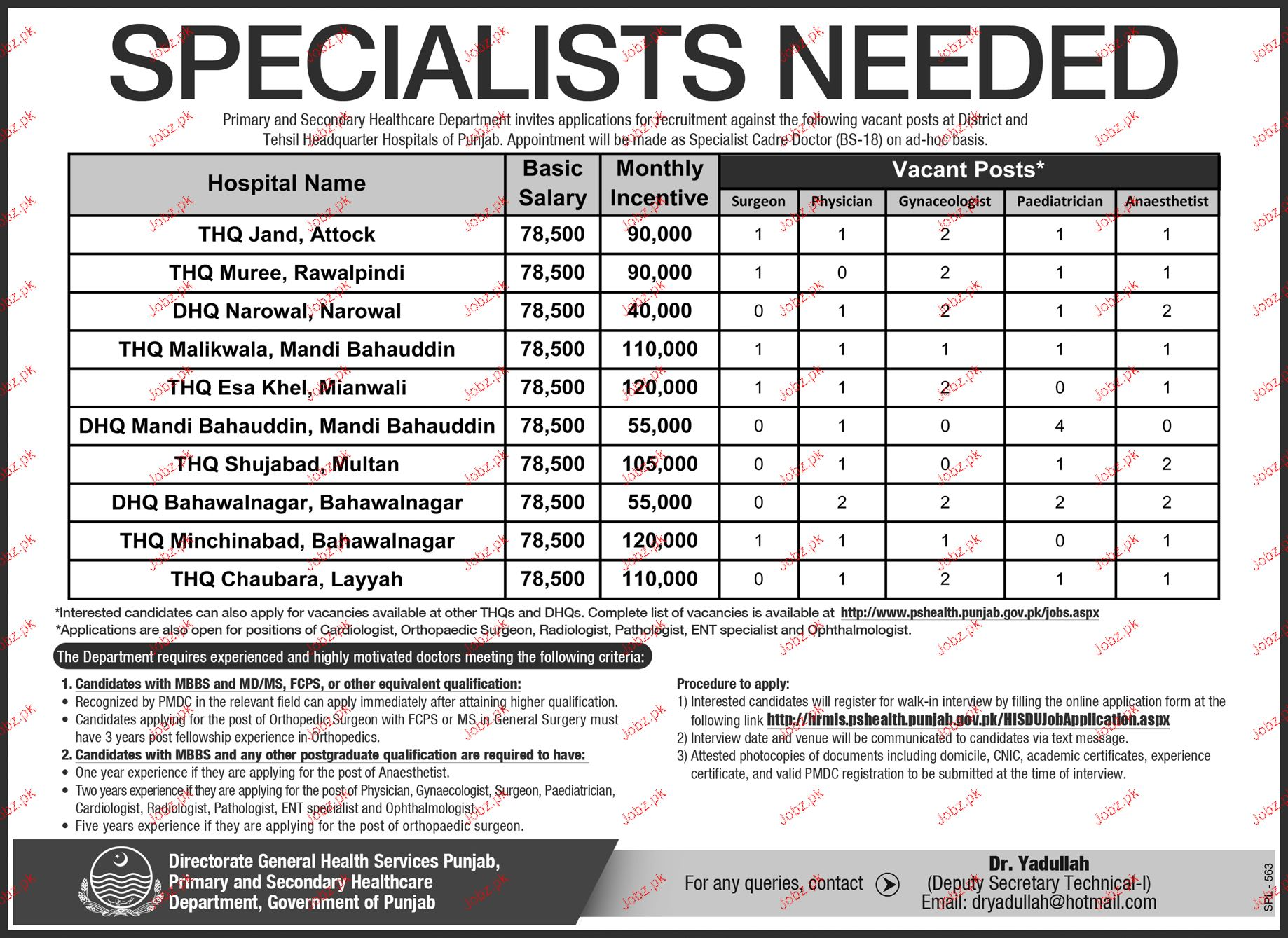 Specialist Doctors Job in Health Department