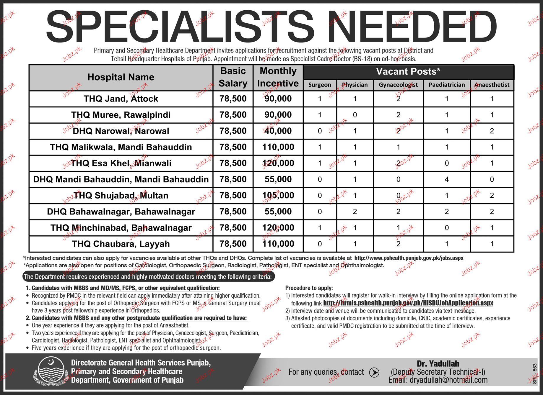 Specialist Doctors Job in Health Department