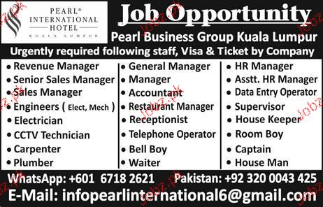 Revenue Manager, Sales Manager, Accountant Job Opportunity