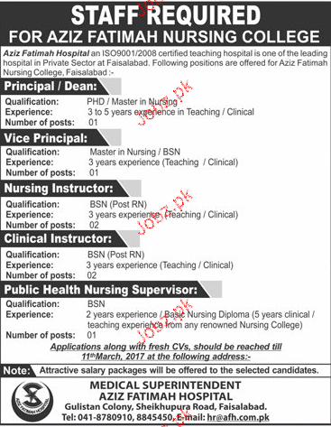 Principal Vice Principal, Nursing Instructors Wanted