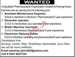 Assistant Maintenance Engineers, Generator Operators Wanted