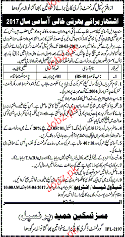 Naib Qasid Job in Government Degree College