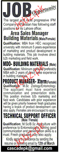 Area Sales Manager, Product Manger Job Opportunity