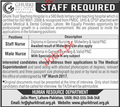 Staff Nurses and Male Nurses Job Opportunity