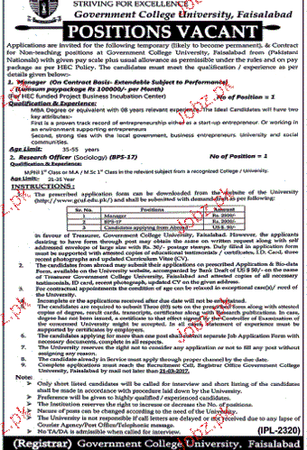 Research Officers and Coordinators Job in GC University