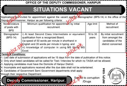Stenographers Job in District Government