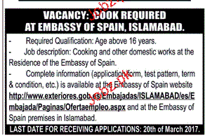 Cook Job in Embassy of Spain 2017 Jobs Pakistan Jobz.pk