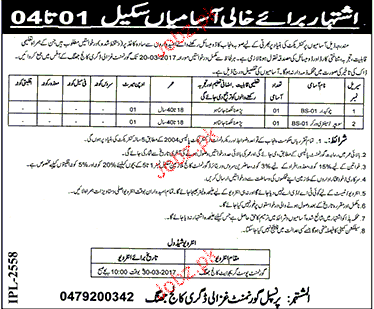 chawkidars and sweepers job in government ghazli degree 2017 jobs pakistan jo. Black Bedroom Furniture Sets. Home Design Ideas