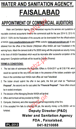 Commercial Auditors Job in WASA