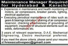 Manager Maintenance Job Opportunity