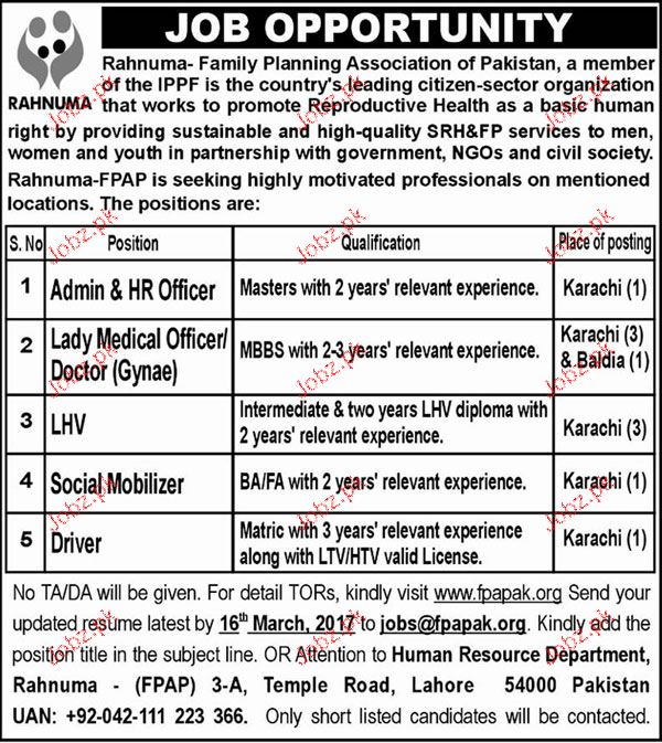 HR Officers, Lady Medical Officers, LHV Job Opportunity