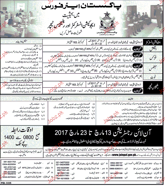 Recruitment of Religious Teachers and Instructors in PAF