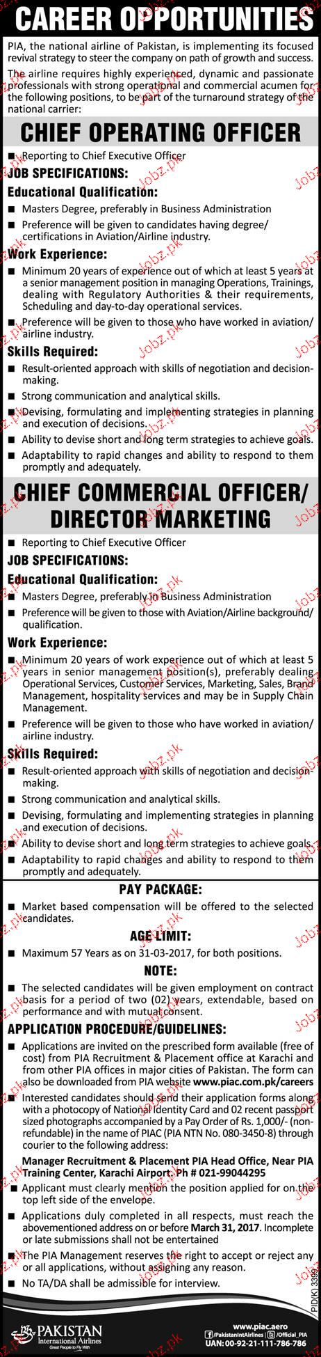 Chief Operating Officers Job in Pakistan International Air