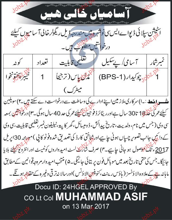 Chawkidars Job in Pakistan Army