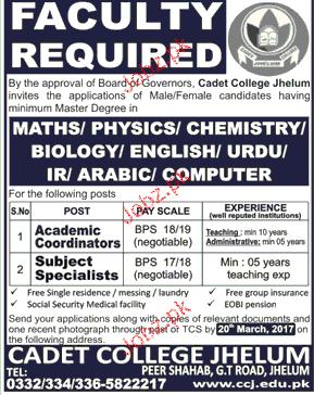 Academic Coordinators and Subject Specialist Job Opportunity