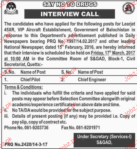 Chief Pilots Job in Government of Balochistan